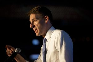 Jason Kander speaks at the Missouri Democratic Party's annual dinner, the Truman Dinner, at Busch Stadium on Thursday.